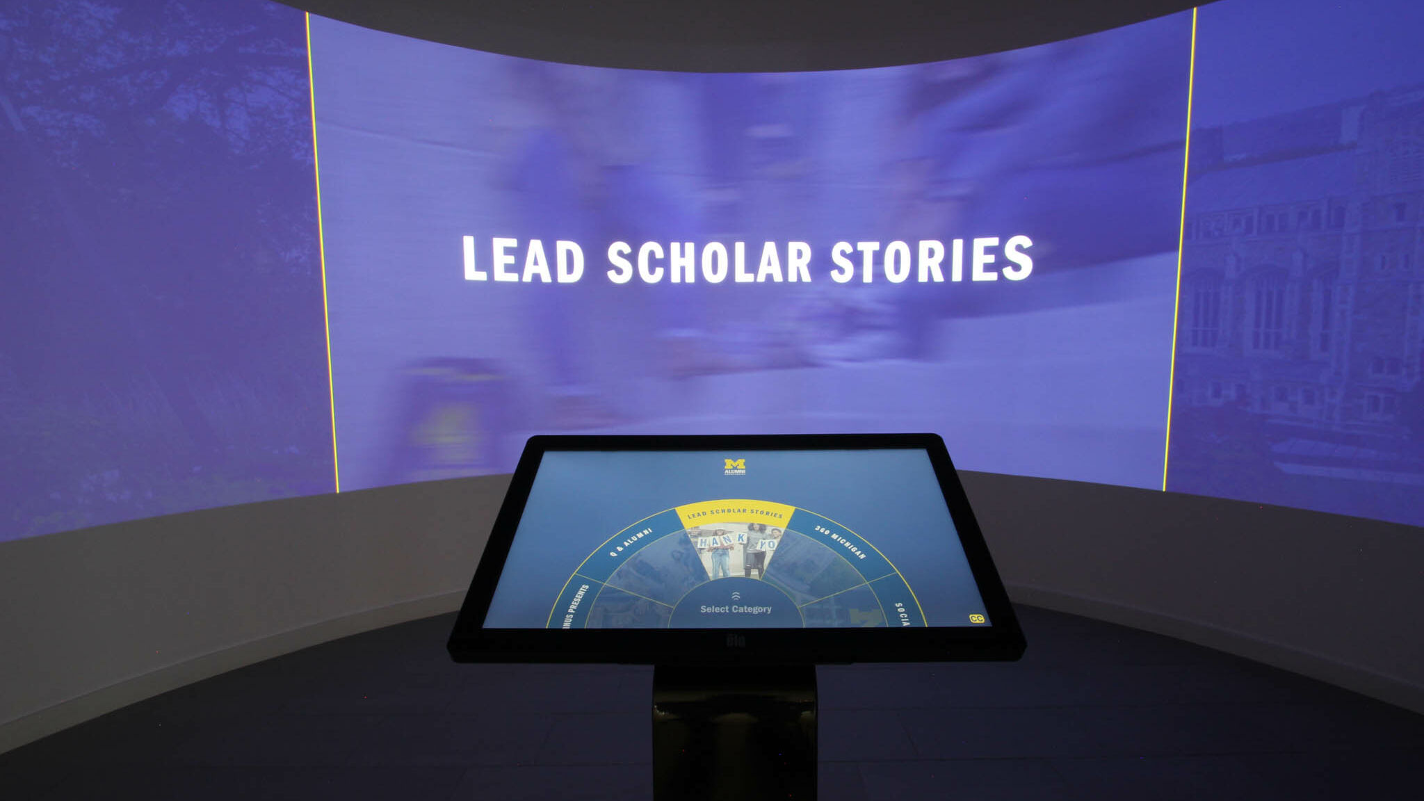 Exploring Lead Scholar Stories in the University of Michigan Alumni Center immersion room