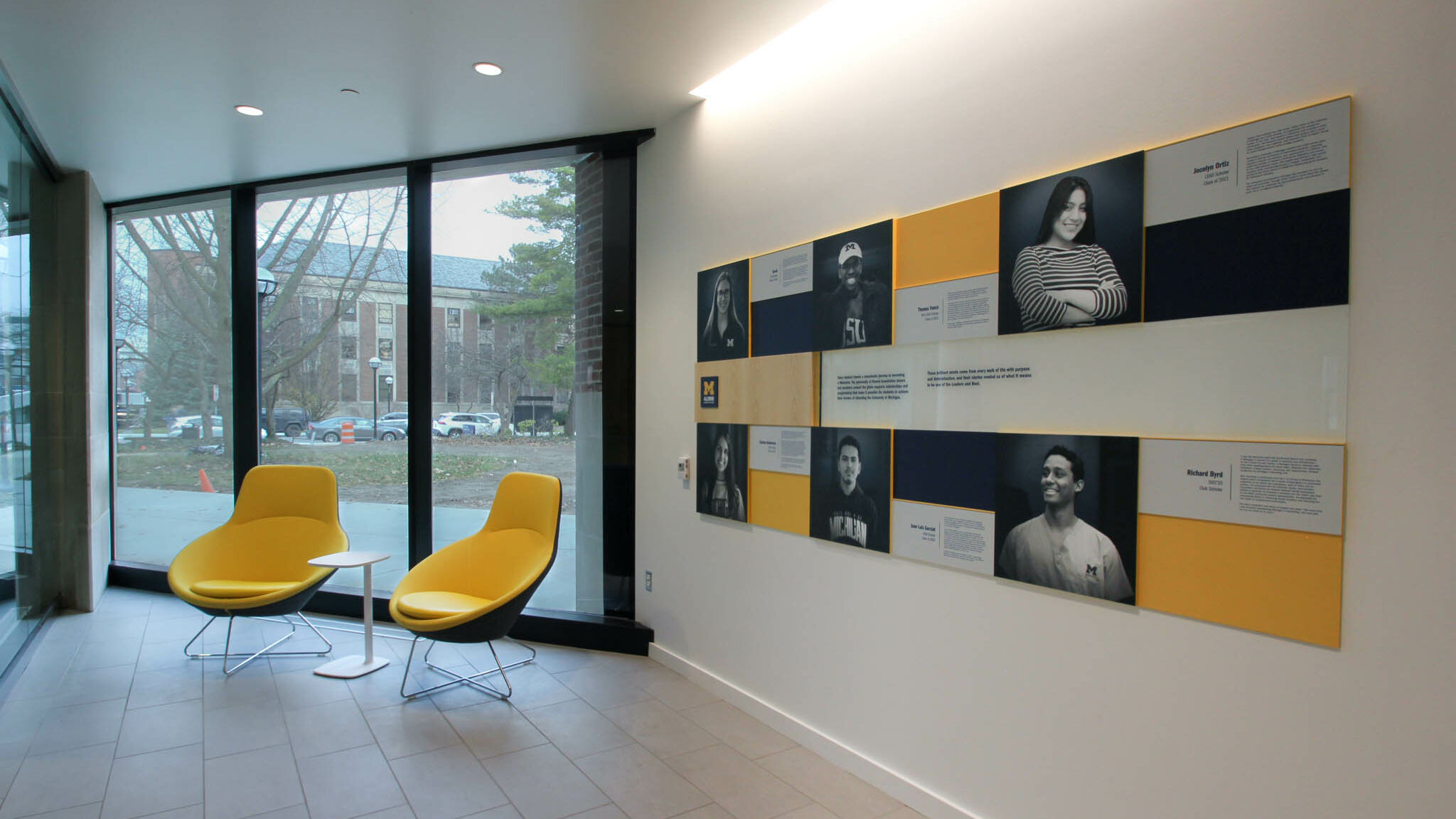 Entry area with University of Michigan alumni recognition panels