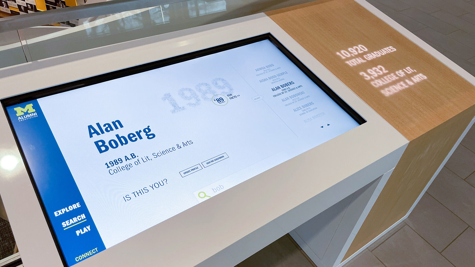University of Michigan Alumni Center Interactive Wall and Table allow you to search the vast alumni network