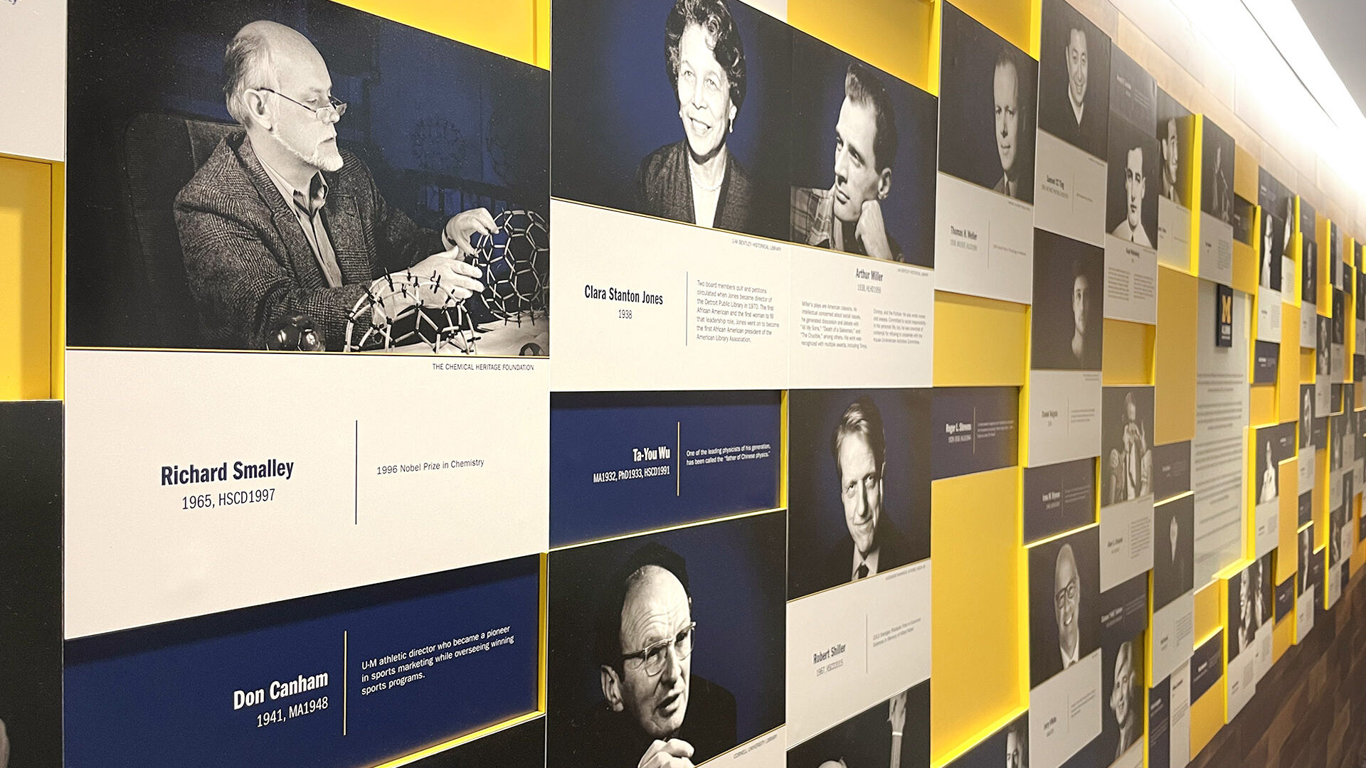 Display panels honoring notable University of Michigan Alumni